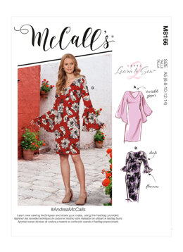 McCall's AndreaMcCalls - Misses' Dresses With Flounce Sleeve Variations M8166 - Sewing Pattern