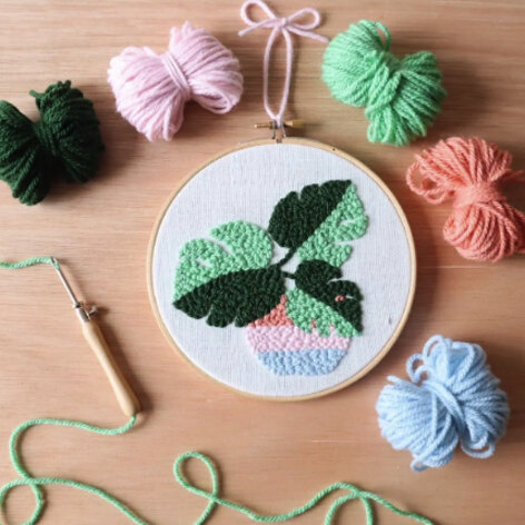 The Modern Crafter Punch Needle DIY Kit - Monstera - 6in