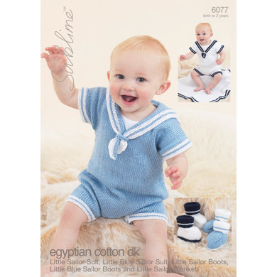 Little Sailor Set,Little Blue Sailor Set and Blanket in Sublime Egyptian Cotton DK - 6077