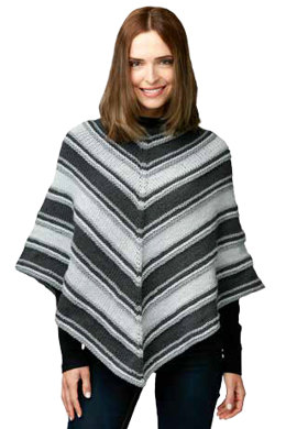 Fade to Gray Knit Poncho in Caron One Pound