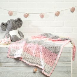 Thumbelina Baby Blanket in Premier Yarns DK Colours - Downloadable PDF