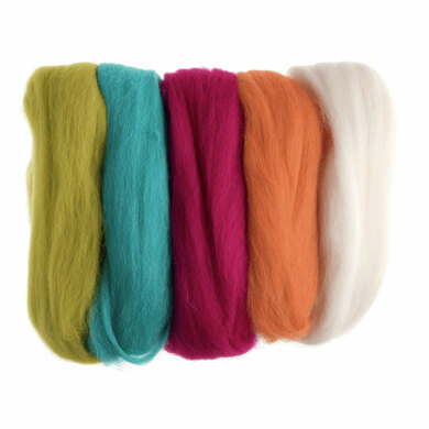Trimits Natural Wool Roving: 50g: Assorted Neon Brights