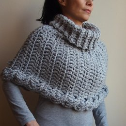 Very Winter Cable crochet poncho cape