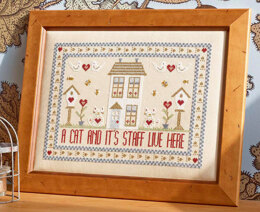 Historical Sampler Company A Cat and Its Staff Live Here Cross Stitch Kit - 30cm x 21cm