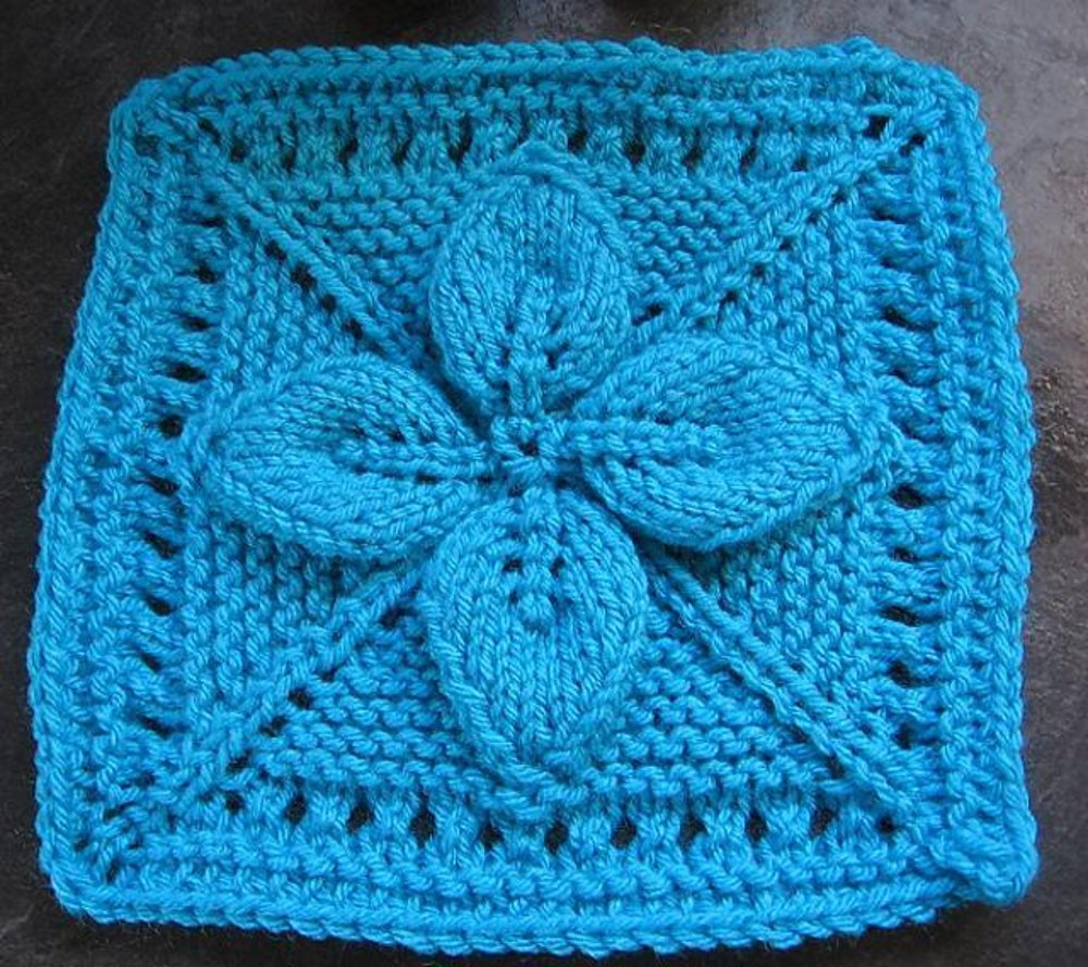 """9"""" Lucky 4-Leaf Afghan Block Knitting pattern by Margaret ..."""