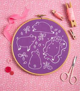 Hawthorn Handmade Playful Pigs Embroidery Kit
