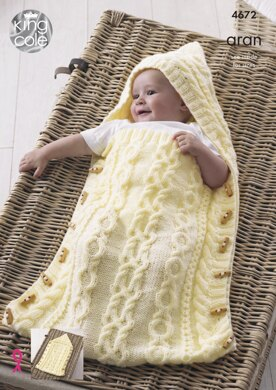 Baby Sleeping Bag, Cushion and Blanket in King Cole Comfort Aran - 4672 - Downloadable PDF