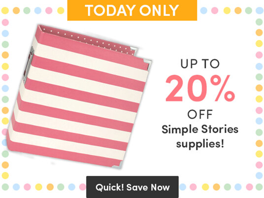 Up to 20 percent off Simple Stories supplies!