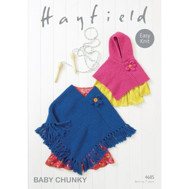 Ponchos In Hayfield Baby Chunky 4685 Downloadable Pdf