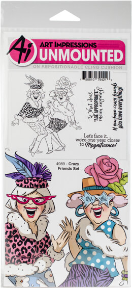 Art Impressions Girlfriends Cling Rubber Stamps - Crazy Friends