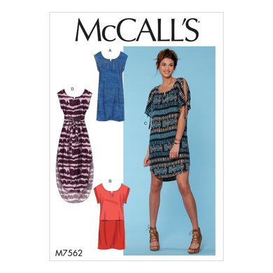 McCall's Misses' Pullover Dresses with Sleeve Ties, Pocket Variations, and Belt M7562 - Sewing Pattern