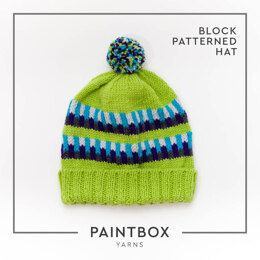 Block Patterned Hat in Paintbox Yarns Wool Worsted - Downloadable PDF