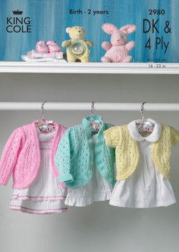 Cardigans in King Cole Big Value Baby DK & 4 Ply - 2980