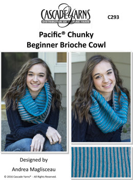 Beginner Brioche Cowl in Cascade Pacific Chunky - C293 - Downloadable PDF