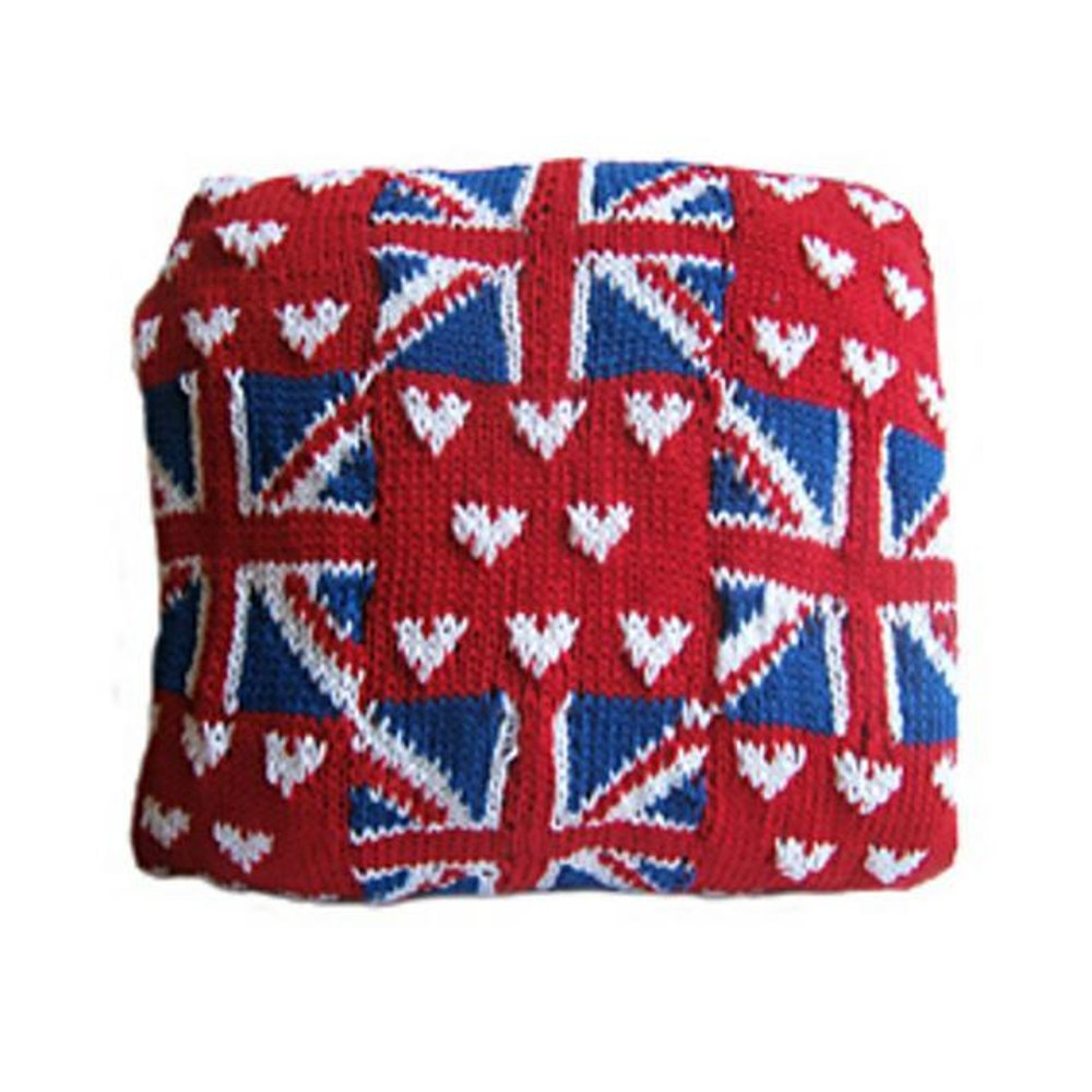 Knitting Pattern Union Jack Cushion Cover : Union Jack and Heart Patchwork Effect Cushion Cover Knitting pattern by Lorra...