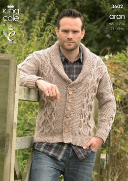 Sweater and Cardigan in King Cole Big Value Aran - 3602