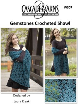 Gemstones Crocheted Shawl in Cascade Hollywood - W507