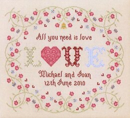 Historical Sampler Company All You Need Is Love Wedding Sampler Cross Stitch Kit - 39cm x 30cm