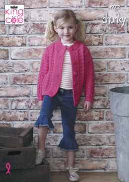 Cabled Sweater and Cardigan in King Cole Comfort Chunky - 4972