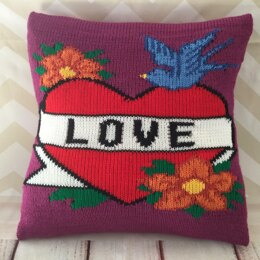 Love Vintage Tattoo Cushion Cover