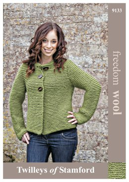 Garter Stitch Jacket in Twilleys Freedom Wool - 9133