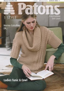 Ladies Tunic with Cowl Neck in Patons Merino Extra