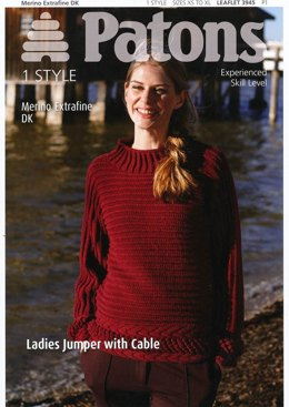 Ladies Jumper with Cable in Patons Merino Extrafin