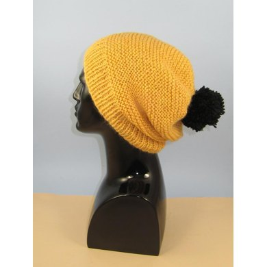 Chunky Garter Stitch Big Bobble Slouch Hat