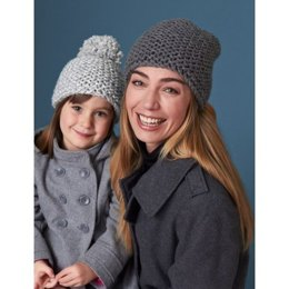 All in the Family Hats in Bernat Softee Chunky