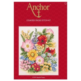 Anchor Meadow Flowers Cross Stitch Kit - 20cm x 25cm