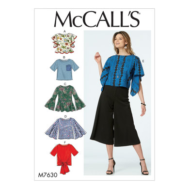 McCall's Misses' Tops with Sleeve and Hem Variations M7630 - Sewing Pattern