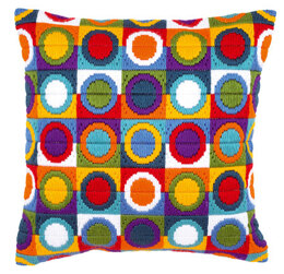 Vervaco Varicoloured Circles Long Stitch Cushion Front - 40 x 40 cm