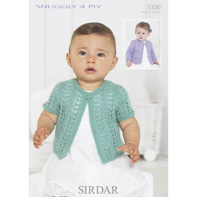 One Button Girl Cardigan in Sirdar Snuggly 4 Ply - 1330