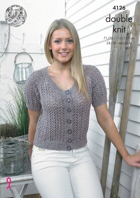 Top and Short Sleeved Cardigan in King Cole Authentic DK - 4126 - Downloadable PDF