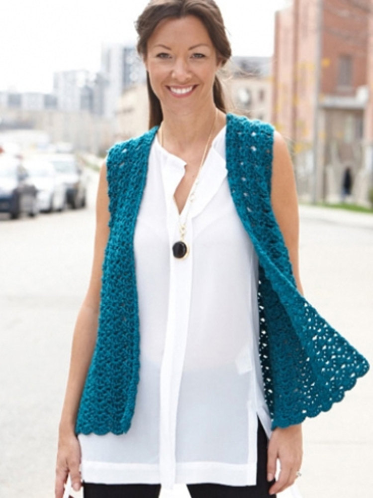 Drapey Crochet Vest In Caron Simply Soft Collection