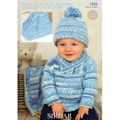 Sweater, Hat and Blanket in Sirdar Snuggly Baby Crofter DK - 1926