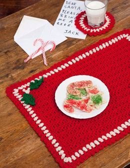 Holiday Placemat Set in Red Heart Holiday - LW2636 - Downloadable PDF