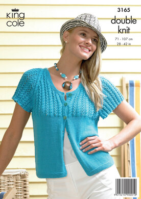 Ladies' Cardigan and Top in King Cole Bamboo Cotton DK - 3165