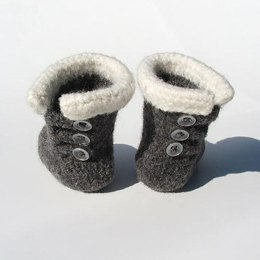 Felted Baby Button Boots