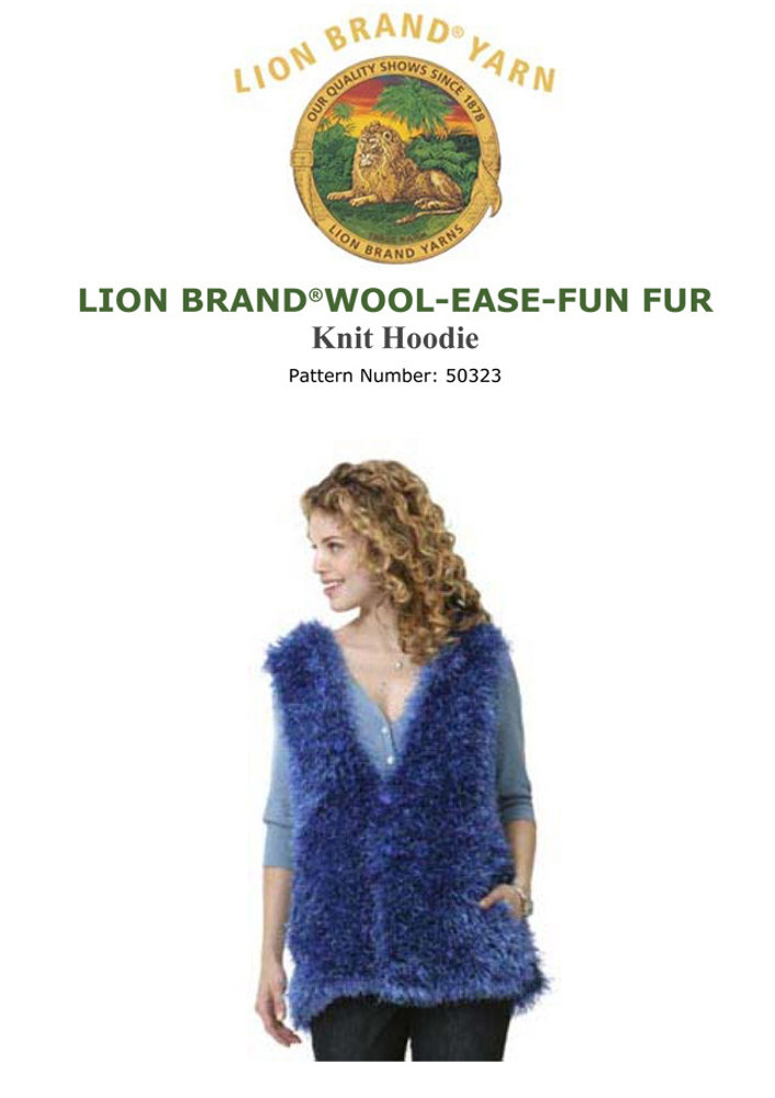 Knit Hoodie In Lion Brand Wool Ease And Fun Fur 50323