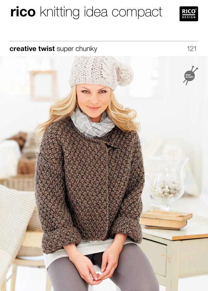 Chunky Knit Sweater Pattern Free : Cardigans in Rico Creative Twist Super Chunky - 121 Knitting Patterns Lov...