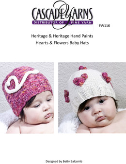 Hearts & Flowers Baby Hats in Cascade Heritage and Heritage Paints - FW116