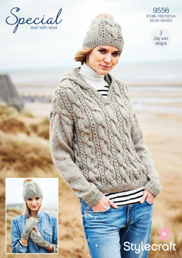Hooded Sweater, Mittens & Hat in Stylecraft Special Aran with Wool - 9556 - Downloadable PDF