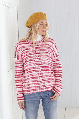 Ladies Round Neck Sweater and Cowl Neck Sweater in King Cole Stripe DK in King Cole - 5597 - Leaflet