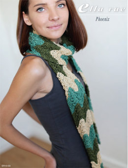 Feather and Fan Stripe Scarf in Ella Rae Phoenix - ER10-03 - Downloadable PDF