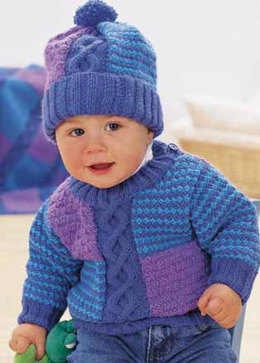 Cables And Checks Pullover and Hat Set in Patons Astra