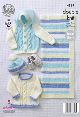 Sweater, Jacket, Hat & Blanket in King Cole Big Value Baby DK - 4889 - Leaflet