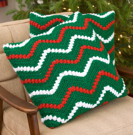 Christmas Ripple Pillows in Red Heart Holiday - LW2283EN - Downloadable PDF