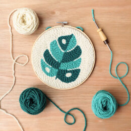 The Modern Crafter Beginner Punch Needle Hoop Kit - Monstera Leaf - 8in