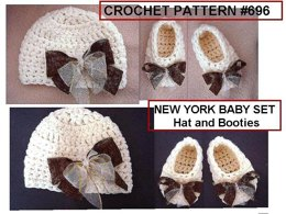 696 NEW YORK BABY, Crochet Hat and Booties set